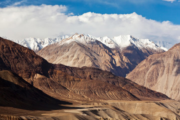 Panorama of Himalaya mountain landscape in Ladakh, North India