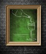 Bottle and glass of wine chalkboard in old wooden frame