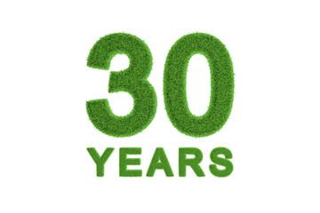 30 Years green grass anniversary numbers