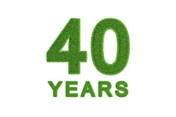 40 Years green grass anniversary numbers