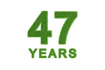 47 Years green grass anniversary numbers