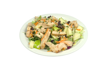 Salad with smoked chicken strips.