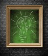 Idea concept light bulb chalkboard in old wooden frame