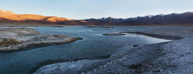 Panorama of Tso Kar lake in Ladakh, North India