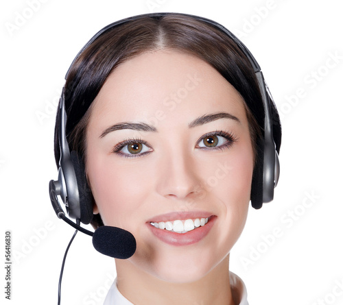 Girl with headset, white background, copyspace