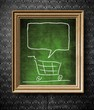 Shopping cart with copy-space chalkboard in old wooden frame