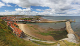 panorama of seaside town whitby, north yorkshire, england