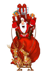Santa Claus on flying reindeer with gift bag