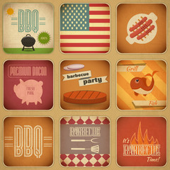 Barbecue Menu Retro Set