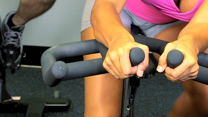 Hands Legs Gym Member Healthy Exercise Close Up