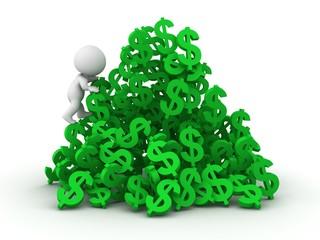 3D man climbing huge pile of dollar symbols