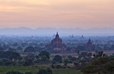 Pagan archaeological zone at twilight, Myanmar poster