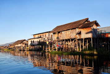 Village of Intha people over water on Inle lake, Myanmar