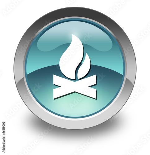 "Light Blue Glossy Pictogram ""Campfire"""