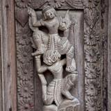 Ancient wooden carved in Shwe Nan Daw Monastery, Myanmar