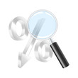 Dropping percent symbol and magnifying glass. Vector illustratio