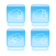 Glassy cloud icons. Vector illustration