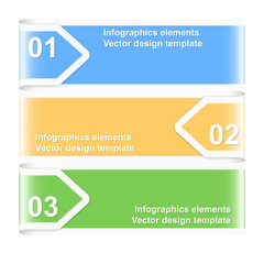 Numbered arrow banners. Infographics elements. Vector illustrati