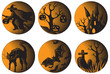 Halloween set. Six vector halloween pictures at engraving style