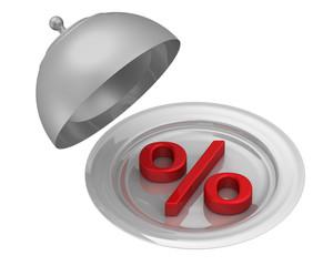 Процент в подносе
