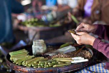 Burmese home-rolled cigar at local market