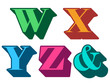 Colorful alphabet letters W, X, Y, Z, ampersand