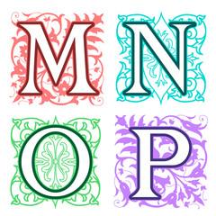 M, N, O, P, alphabet letters floral elements