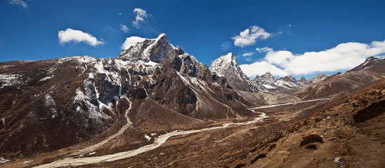 Panorama of mountains in Sagarmatha National Park, Nepal