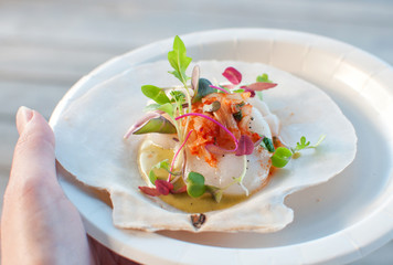 Appetizer ceviche with raw scallop