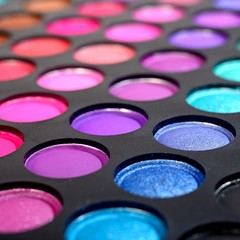 Eye shadows make-up palette close-up