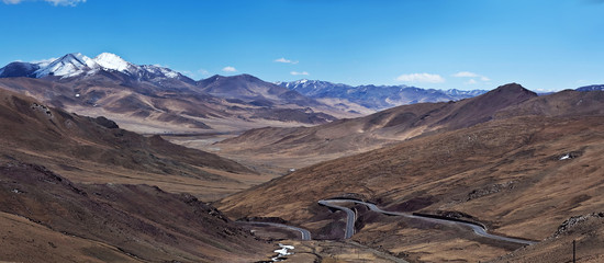 Mountain landscape and China National Highway in Ngari, Tibet