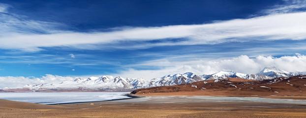 Panorama of Lake Manasarovar and Gurla Mandhata Peak, Tibet
