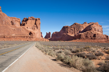 Approach to Arches National Park