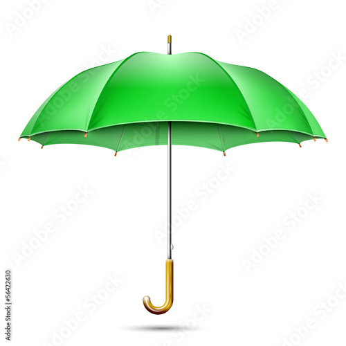 Realistic Detailed Green Umbrella. Vector Illustration