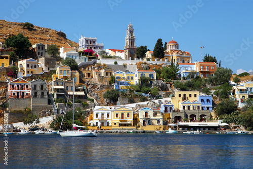 Fantastic colorful view of Symi island