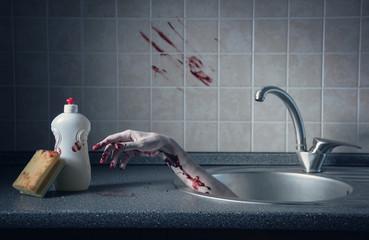 Bloody hand in kitchen sink, crime scene