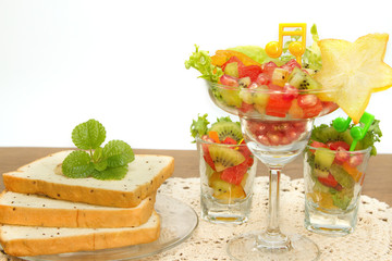 bread slice and fruit salad , fusion food