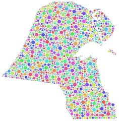 Map of Kuwait - Middle East - in a mosaic of harlequin circles