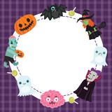 Halloween frame with witch, dracula, brain, zombie, pumpkin etc.