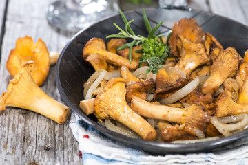 Portion of fried Chanterelles