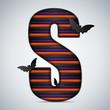 Halloween Bat Alphabet Letters Stripe Black Orange Purple