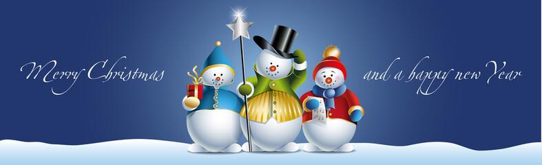 Drei Weihnachtsmänner im Schnee