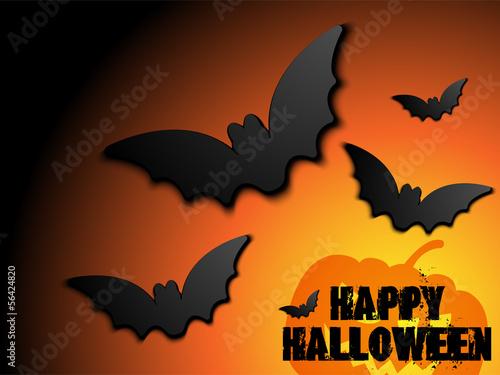 Halloween Bat Frame Pumpkin Background