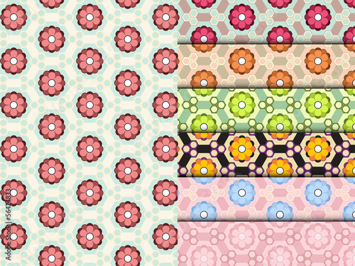 Seamless Flower Pattern Colorful Set Vector