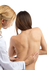 Doctor research patient spine scoliosis deformity backache