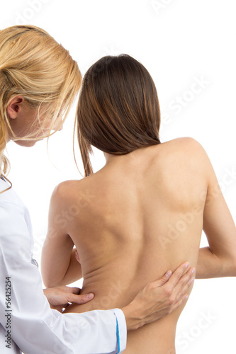 Doctor research patient spine scoliosis deformity backache