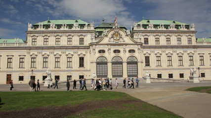 Visitors in front of Belvedere, Vienna