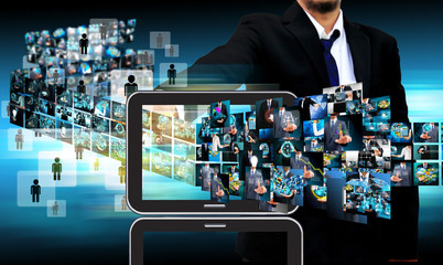 businessman Contact Television and internet production .technolo