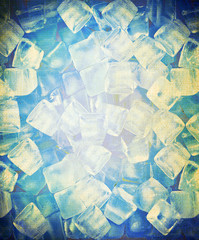 background with ice cubes in old paper