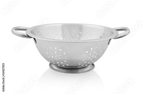 Metal colander isolated